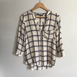 Zara Basic White/Navy Plaid Blouse—Small